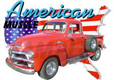 1955 Red Chevy Pickup Truck Early Custom Hot Rod USA T-Shirt 55, Muscle Car Tee
