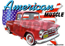 1957 Red Chevy Pickup Truck Custom Hot Rod USA T-Shirt 57, Muscle Car Tee's