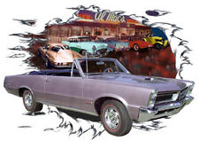 1965 Lavender Pontiac GTO Convertible Hot Rod Diner T-Shirt 65, Muscle Car Tee's