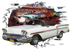 1958 White Chevy Impala Convertible Hot Rod Diner T-Shirt 58, Muscle Car Tee's