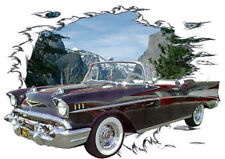 1957 Black Chevy Bel Air Convertible Hot Rod Mountain T-Shirt 57, Muscle Car Tee