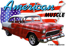 1955 Red Chevy Bel Air Sedan d Custom Hot Rod USA T-Shirt 55, Muscle Car Tee's