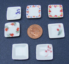 1:12 Scale Dolls House Miniature Square Patterned Ceramic Plates Accessory