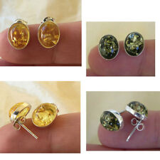 BALTIC CITRINE, HONEY or GREEN AMBER & STERLING SILVER OVAL STUD EARRINGS