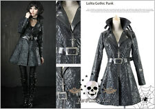 British Gothic pUNK Visual Assassin's Creed Check Emboss Trench coat Y380