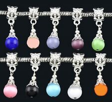 Catseye Glass 8mm Silver Plated Large 5.5mm Hole Dangle Charm Bead 1pc -CHOICE