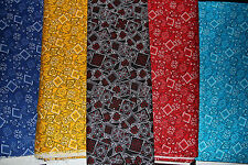 RETRO LOOKING BANDANA 100% cotton QUILT FABRIC red dk blue aqua black yellow BTY