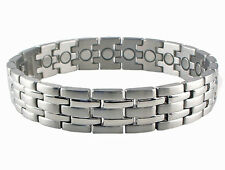 Magnetic Therapy Bracelet Stainless Steel Mens High Power Magnets Silver Stripes