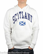 Scotland Saltire Flag Unisex Hooded Top, Long Sleeve, White, All Sizes