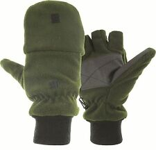 Thinsulate Lined Olive Fleece Hunting Mitts Fingerless Gloves Reinforced Palm