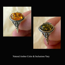 BALTIC GREEN or HONEY AMBER STERLING SILVER HANDMADE RING VARIOUS SIZES