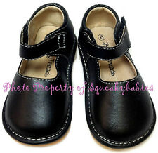 Squeaky Shoes Toddler Black Leather Classic Plain Mary Jane white stitching sz 3