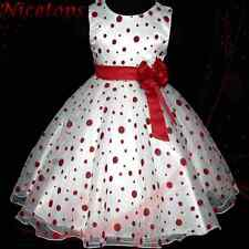 R3117 Toddler Girl Red Christmas Party Flower Girls Dress Outfit SZ 3-4-5-6-7-8Y