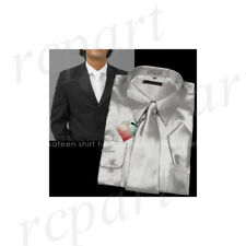 New men's satin dress shirt necktie & hankie set party prom long sleeve silver