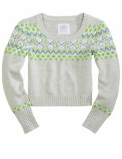 NWT Justice Girls Blue & Lime Sequin Cropped Christmas Fair Isle Sweater Top NEW
