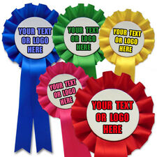 10 Personalised Rosettes, Printed with your Text and Logo Cheap Printed Rosettes