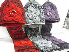 HAND MADE HAT & SCARF SETS  FLOWER DETAIL WITH DIAMANTE TRIM IN THREE COLOURS