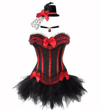 Burlesque  Black Red/Blue/Purple Corset +TuTu  Hat  Moulin Rouge Fancy Outfit