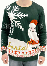 Adult Jumper Ugly Christmas Sweater Happy Santa Claus Peeing Name Santa in Snow