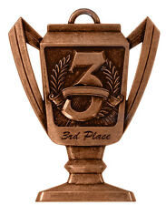 """2-3/4"""" Trophy Shape 3rd Place Medal w/Ribon Any Qty Ships Flat Rate $5.49 in USA"""