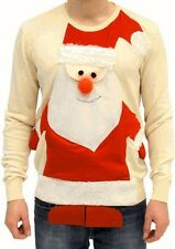 Adult Beige Jumper Ugly Christmas Sweater Tacky Holiday 3D Santa Claus Full Body