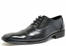 New men's shoes dress formal smooth synthetic lace up style prom wedding black