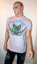 CHRISTIAN AUDIGIER Ed Hardy GRENADE T-Shirt RHINESTONE Black White Sword SHIRT