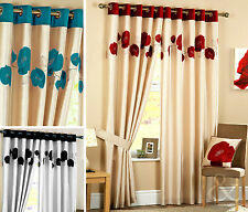 POPPY CURTAINS Luxury Heavy Eyelet Ring Top Ready Made Lined Curtain