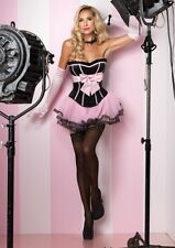 SEXY Satin Bodice Bow Silhouette Corset Bustier with Support Boning Side Zipper
