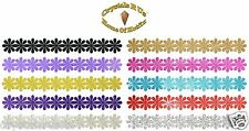 GLITTER SATIN BORDER LINE DAISY IRON-ON FASHION DIY CRAFT GARMENT CLOTHES PATCH