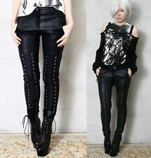 RTBU Punk Rocker Vegan-Friendly emo Biker Boot Laceup Cording Faux Leather Pants