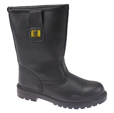 MENS BLACK LEATHER SAFETY STEEL TOE CAP RIGGER BOOTS WORK SHOES TRAINERS 6-12UK