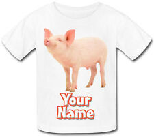 PIG / PIGLET PERSONALISED SUBLIMATION KIDS T-SHIRT - GIFT FOR ANY CHILD & NAMED