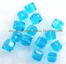 Sky Blue Clear Glass 4mm 5x6mm Square Cube Faceted Beads 100 pcs