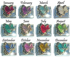 BIRTHSTONE COLOURED BUTTERFLY ENAMEL 1x 9mm LINK ITALIAN CHARM - JAN to DEC