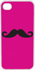 Plain Fuchsia Pink and Black Mustache Design on iPhone 4 4s Case Cover