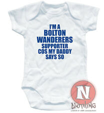 Naughtees Clothing Babygrow Bolton Wanderers Supporter Cotton Baby suit vest