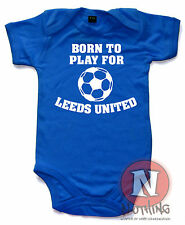 Naughtees Clothing Born Play For Leeds United Cute Football Babygrow Baby Suit