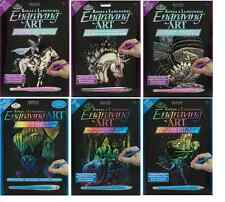 9 DESIGNS OF ENGRAVING ART KITS HOLOGRAPHIC & RAINBOW SCRAPER FOILS & TOOLS