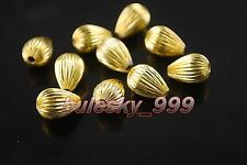 60 Silver/Gold Plated Shiny Copper Charms Teardrop Finding Spacer Bead 11x16mm