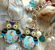 Vintage 1940 shabby chic styl Owl Summer necklace bracelet Unusual Gift for Her