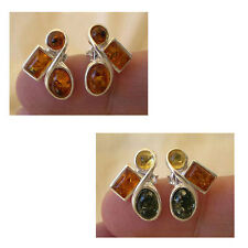 BALTIC HONEY or MULTICOLOR AMBER & STERLING SILVER STUD EARRINGS