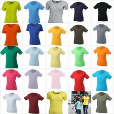 DAMEN LADIES BASIC RUNDHALS T-SHIRT EINFARBIG FRAUEN WOMEN BLANKO ONE COLOR
