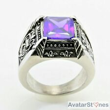 Mens Womens Cool Blue Stone 316L Stainless Steel Ring R5V24D