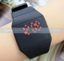 Fashion Mens Lady Touch Digital Red Led Silicone Sports Watch Ultra-thin Watch