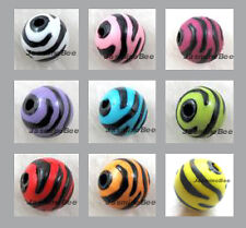 FREE SHIP 50*12mm ZEBRA print ROUND Acrylic Plastic Resin Loose Beads