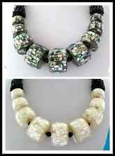Elegant White Drum South Sea Mother of Pearl Shell & Onyx Necklace