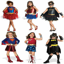 Superheroes Girls Fancy Dress Costumes Corset Tutu Kids Child Batgirl Supergirl