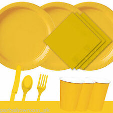 Yellow Tableware Party Table Cover Napkins Cups Cutlery Plates PS