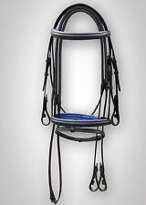 LEATHER HORSE BRIDLE PADDED IN BLACK / R.BLUE WITH RUBBER REIN IN FULL,COB,PONY